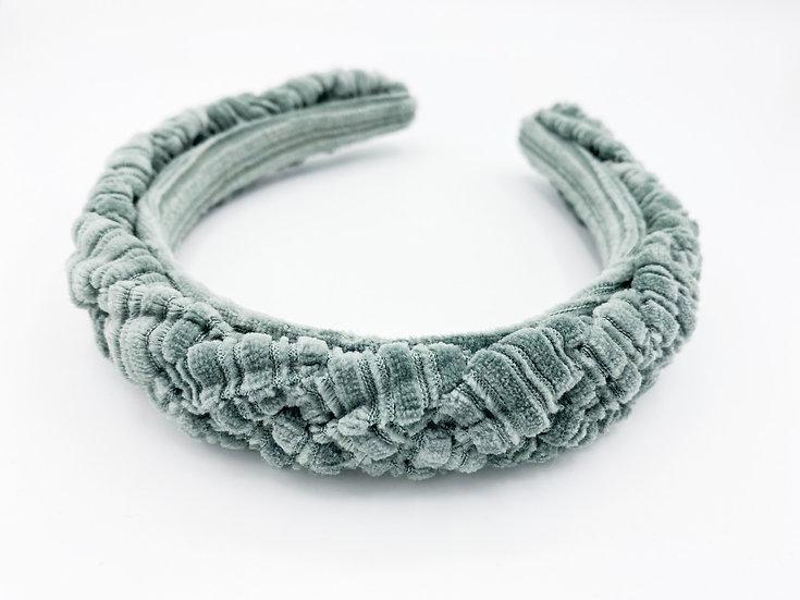 Haarreif geflochten Cord/Samt Petrol