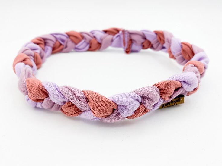 Haarband schmal geflochten rosa/ lila