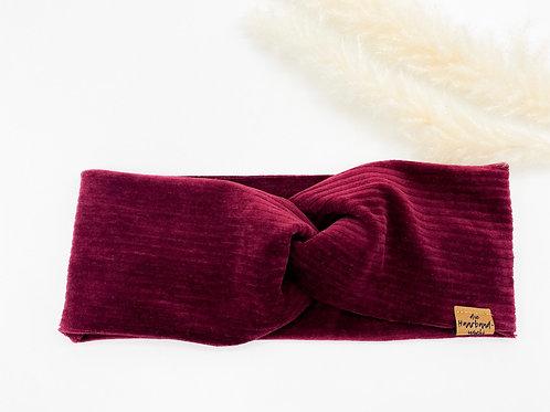 Haarband Basic Cord Bordeaux
