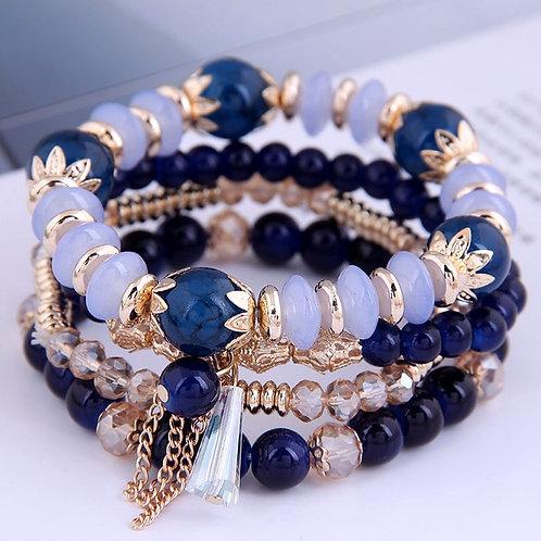 Bracelet multi, perles et pampilles