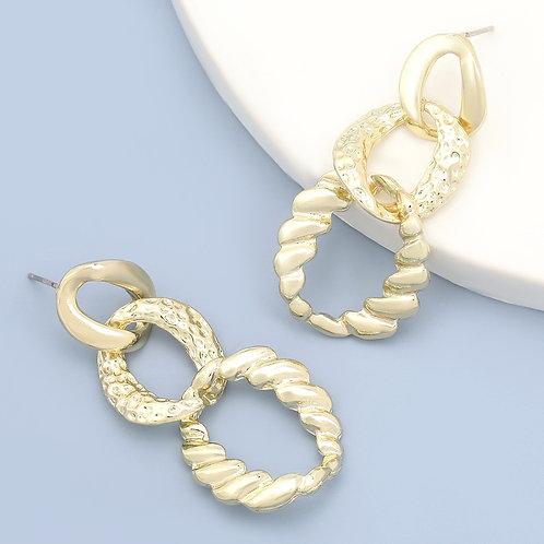 Boucles d'oreilles pendantes à reliefs