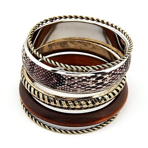 Bracelets multi bois et serpent