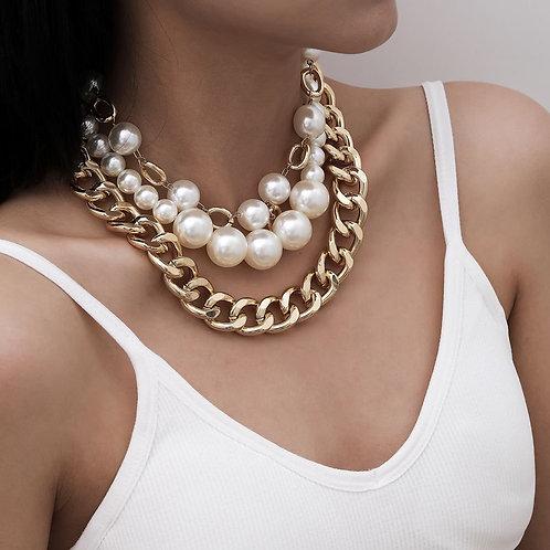 Magnifique collier à gros maillons et perles