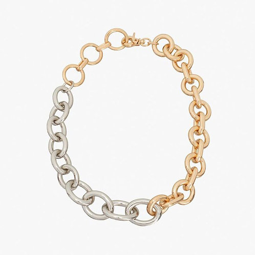 Collier bicolore tendance maillons