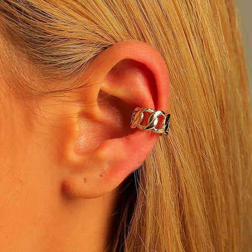 Boucle d'oreille clip chaine creuse