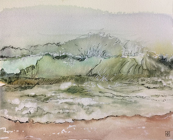 Art and Vulnerability,vulnerability,Hahei Beach - NZ, Watercolour and Pen,Kaidra Jennings,