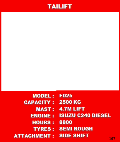 Tailift Forklift Specifications