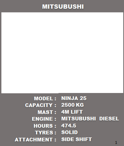 Mitsubushi Forklift For Sale See Specifications