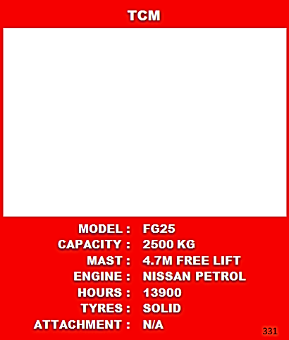 TCM Petrol Forklift For Sale See Specifications