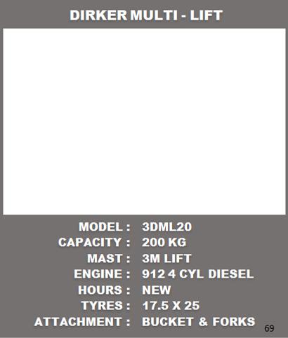 Dirker Multi Lift Specs