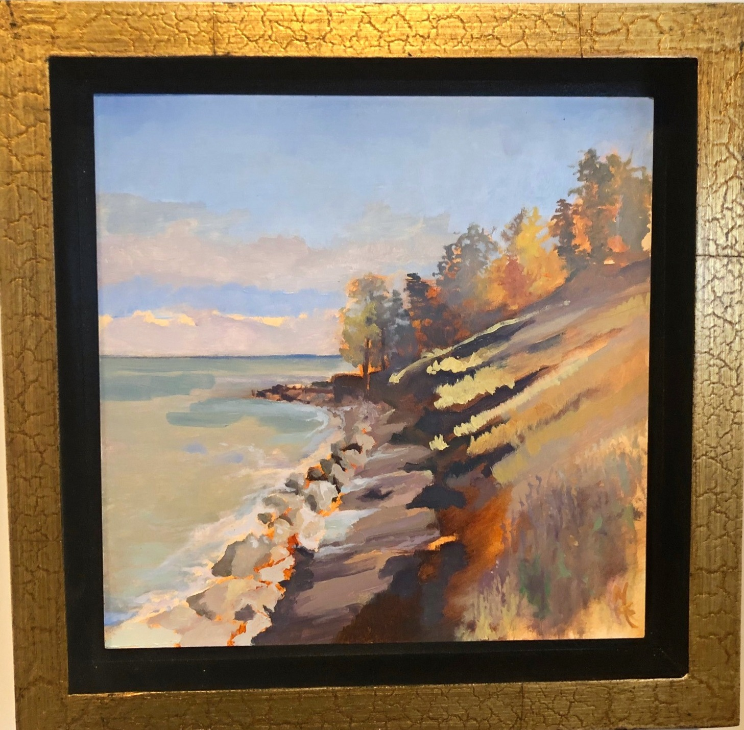 Lake Michigan Oil 10 x 10 Framed (8x8)