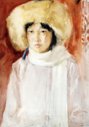 Ya. Oyunchimeg, Portrait of a little sister, watercolor on paper