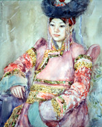 Ya. Oyunchimeg, Tselmeg's portrait, watercolor on paper