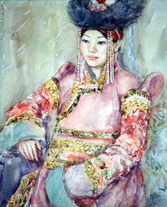 Ya. Oyunchimeg, Tselmeg's portrait, watercolor on paper
