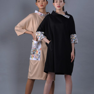 Modern 2 deel dresses with an absract painting print