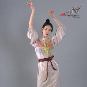 Hand painted, flowered beige dress