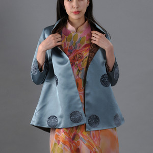 Gray stylish jacket on a pink horse hand painted 'deel' dress