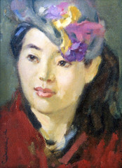 Ya. Oyunchimeg, Mongolian woman's portrait, oil on canvas
