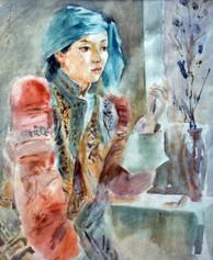 Ya. Oyunchimeg, Portrait, watercolor on paper