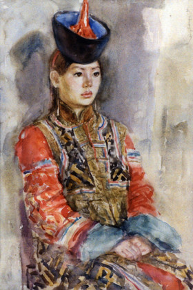 Ya. Oyunchimeg, Portrait, watercolor on paper
