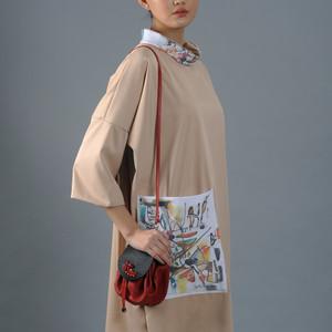 Mirai Beige Modern 'deel' dress with an absract painting print pocket