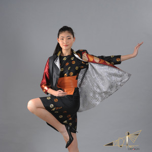 Black Saree Silk Dress and Jacket
