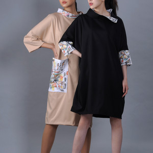Mirai Modern deel dresses with an abstract painting prints
