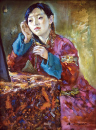 Ya. Oyunchimeg, Portrait of a girl, oil on canvas