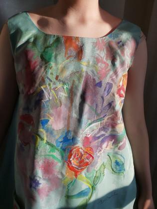 Birthday Flowers, silk painting