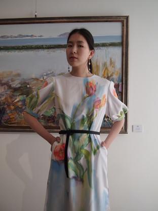 Tulips, silk painting