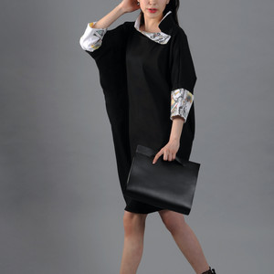 Black modern dress with an abstract painting print