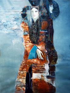 Ya. Oyunchimeg, Portrait of 2 women, oil on canvas