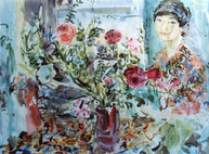 Ya. Oyunchimeg, Selfportrait with flowers, watercolor on paper
