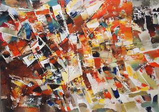 Do. Bold, Impressions-Orange Composition, oil on canvas