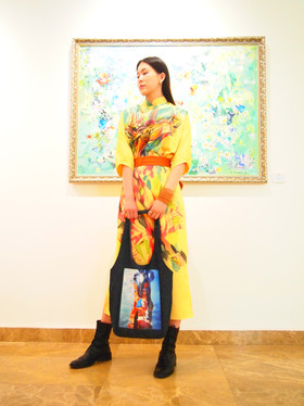 Abstract Art Horse in Fashion, silk painting