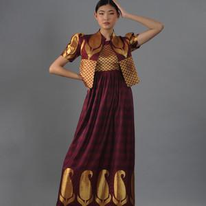 Golden-bordeaux color dress