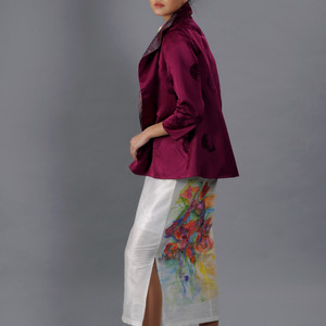 Grape color jacket on a white hand painted 'deel' dress