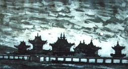 Ya. Oyunchimeg, Monastery evening, etching
