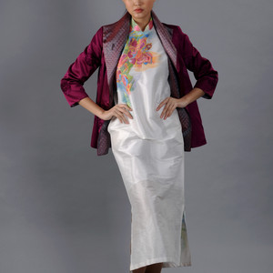 Grape color jacket on a white silk hand painted deel