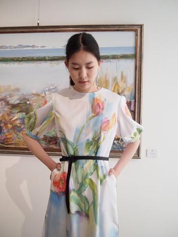 Tulips, silk painting dress