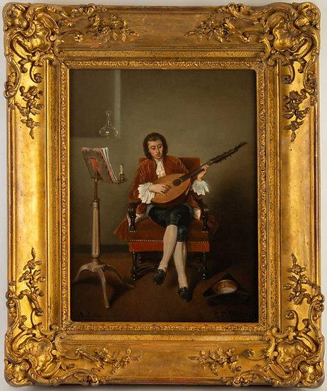 Benjamin Eugène FICHEL (Paris, 1826-1895)  Le joueur de luth- Daté 1853.
