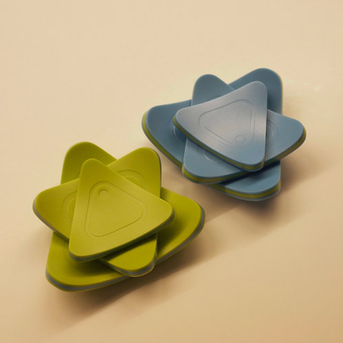 TRIANGULAR OPAQUE GLASS SHALLOW DISHES