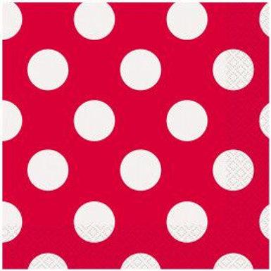 Napkin Lunch Polka Dot Red 16C