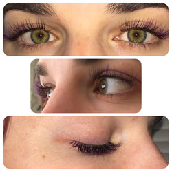 Lash extensions with purple flare