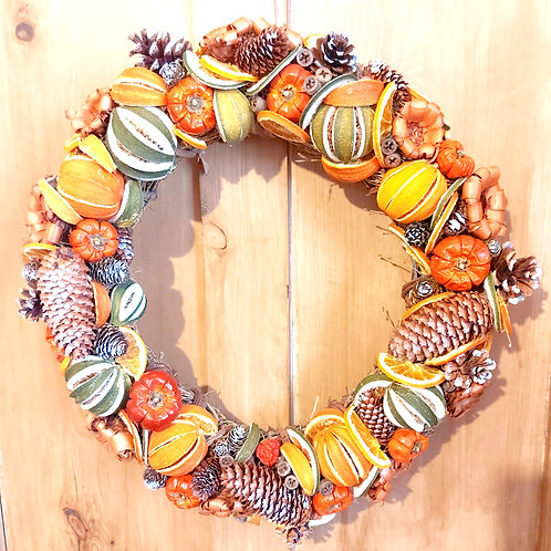 Deluxe Dried Fruit, Cinnamon and Pine Cone Wreath.