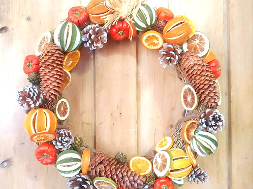 Dried Fruit, Cinnamon and Pine Cone Wreath