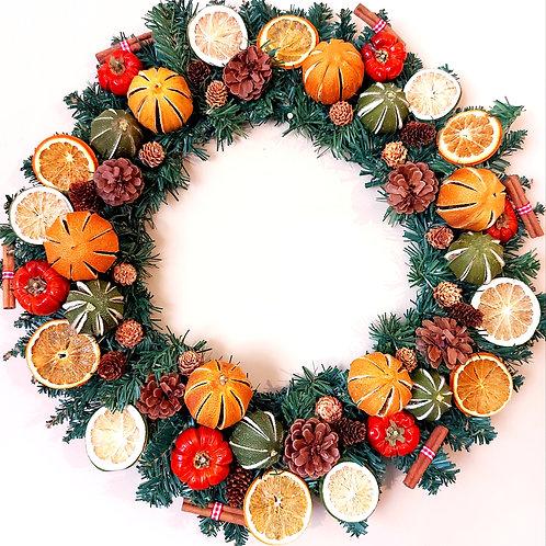 Deluxe Orange, Lime, Pumpino, Cinnamon and Cone Wreath.