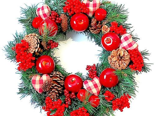 Red Apple, Heart & Berry Wreath