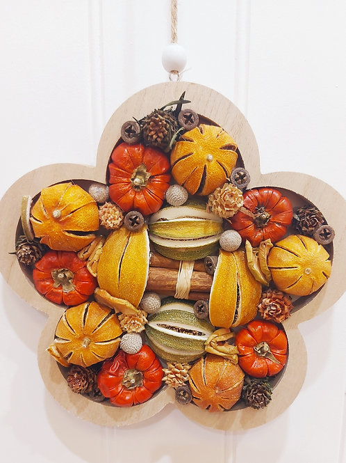 Wooden Framed Dried Fruit, Cinnamon & Cone Decoration