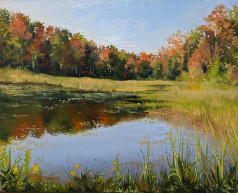 """Autumn Glow"""" 8"""" X 10"""" Oil on panel"""